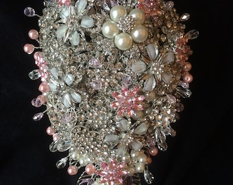 Crystal Pink Brooch Bouquet