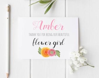 Flower Girl Thank You Card, Floral Wedding Thank You Card for Flower Girls & Bridesmaids
