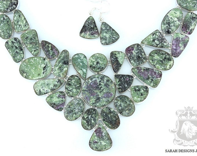 TANZANIAN Mined! Genuine Ruby ZOISITE ANYOLITE Drusy Druzy Mineral Formation 925 Solid Sterling Silver Necklace  Set 32