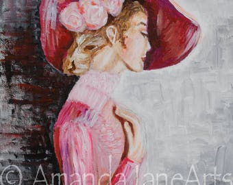 Lady in rose hat, pregnant, original,picture, painting, art, acrylic, print, abstract, classic,gift