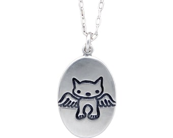 Angel Cat Necklace - Sterling Silver Cat Pendant - Cat Medallion - Custom Cat Memorial Necklace