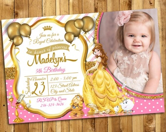 Beauty and the Beast Invitation, Beauty and the Beast Birthday, Princess Belle Invites, Beauty and the Beast Thank You Card | MSBE_3