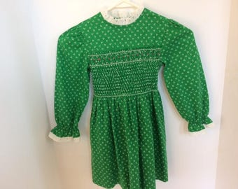 little girls smocked dress size 6  hand smocked girls dress vintage little girls dress
