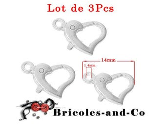 Silver tone heart lobster clasp, small size 14mm.  Set of 3Pcs
