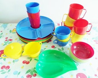 Retro Plastic Lustro Ware Camping and Picnic Dishes - Primary Colors - Plates, Cups, Glasses, Sugar, Creamer 1950s - Mid Century Gotham Ware
