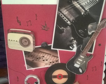retro musical birthday card suitable for all music fans