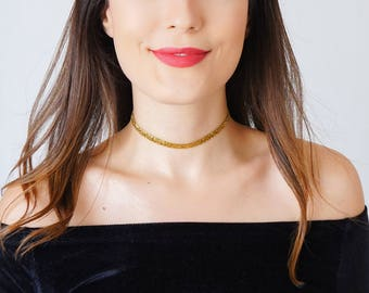 Gold Choker Silver Choker Girlfriend Gift Gold Ribbon Choker Necklace Gold Necklace Silver Necklace/ PONSA