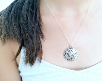 Large Sand Dollar Necklace Sand dollar Jewelry Silver Sand dollar Pendant Beach Jewelry 925 Sterling Silver Beach Wedding Bridesmaid Gifts