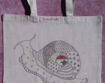 Hand drawn & illustrated 100% recycled cotton tote bag