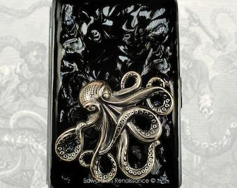 Metal Cigarette Case Silver Octopus Inlaid in Hand Painted Glossy Black Onyx Ink Enamel Steampunk Kraken Metal Wallet Neo Victorian
