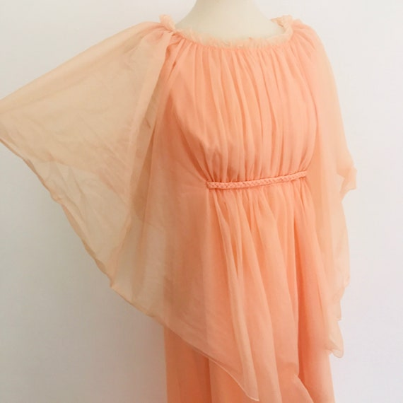 Vintage maxi dress cape sleeves orange chiffon sheer overlay 70s floaty festival disco long gown Abigails Party 1970s boho UK 10 peach