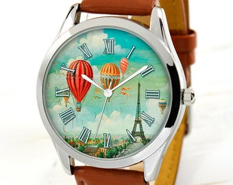 Women's Watch - Ballons Over Paris - Women Watches - Unique Gift - Vintage Style Watches for Women - Gift for Wife - Gift for Mom