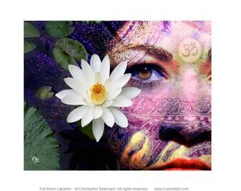 Goddess Art Canvas - Lakshmi Art by Christopher Beikmann - Full Moon Lakshmi - New Age Hindu Goddess Art with Lotus Flower