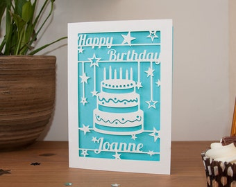 Personalised Happy Birthday Card Paper Cut 5x7 Inches