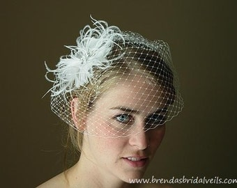 Wedge Style Birdcage Veil with Detachable Feather Flower Fascinator