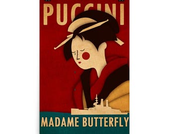 Madame Butterfly Unframed Opera Print. Home Decor. Original Wall Art. Opera Print.  Puccini Illustrated Art Print. 24 x 36 in / 61 x 91cm