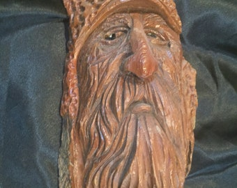 Mountain Man Bark Carving, Wood Spirit wood carving, woodsman carving