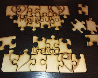Personalized laser cut puzzle valentine gift