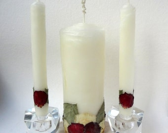 Elegant Wedding Unity Candle Set, You Choose Petal Color, Unique Unity Candle, Romantic Wedding Candles, Beeswax Rose Unity Candle set