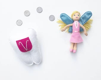 Personalized Tooth Fairy Pillow.  Magenta Pocket.