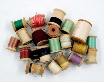 Vintage Thread Collection with Wooden Spools
