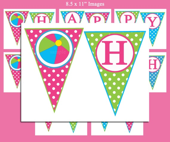 Happy Birthday Banner Printable Pool Party Waterslide