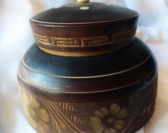 Carved Lidded Box Hand Made Wood Bone Vintage Souvenir