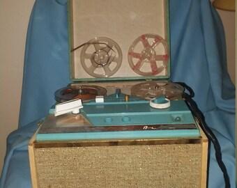 vintage Montgomery Ward Airline tape recorder, reel to reel vintage recorder, Airline model GTL 3739A,