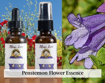 Penstemon Flower Essence, 1 oz Dropper or Spray for Inner Fortitude and Perseverance