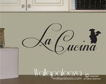 Kitchen wall decal - Kitchen wall art - chef wall decal - kitchen decal - La Cucina - Kitchen decor - kitchen - Wallapalooza Wall Decals