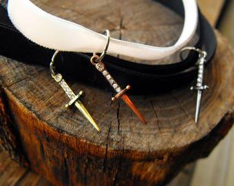 Mini Sword Choker with Velvet Ribbon