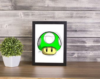 1UP Mushroom from Super Mario, Digital Drawing, Digital Print, Decoration, Nintendo Art, Games Art, Videogames Illustration