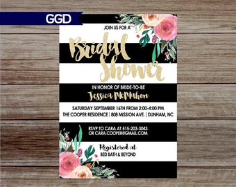 Boho Chic Bridal Shower Invitation with Flowers, boho chic Invitation, pink flowers, gold and black- Printed or Digital File 003