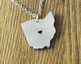 I heart Ohio necklace,personalized state necklace,custom map jewelry personalized map pendant Ohio charm