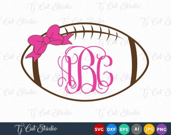 Football Monogram SVG, Football SVG, Football With Bow svg, Sports Svg, for Silhouette Cameo or Cricut Commercial & Personal Use.