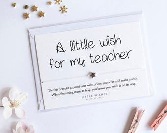 teacher gift, wish bracelet, teacher appreciation gift, teacher gift, teacher thank you, teacher wish bracelet,