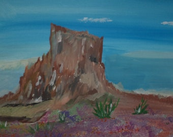 Square Mountain In Desert Painting