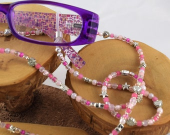 Pink Cotton Candy eyeglass sunglass handcrafted beaded chain never lose your glasses again!