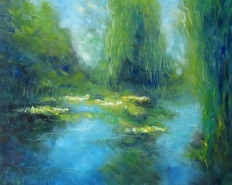 oil painting // landscape sunny lilypond // artistic work of art // hand-painted impressionism monet contemporary art