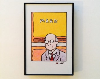 Mark Rothko, 4x6 inch print, art, drawing, artists, painter, portrait