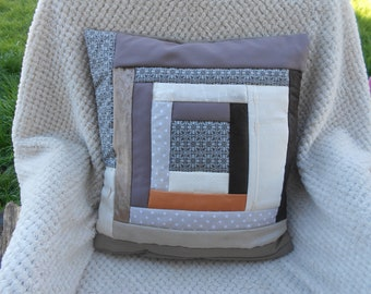 Pillow cover / cushion 40 x 40 cm, colorful, patchwork fashion, modern and Bohemian chic, in shades of beige