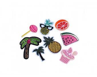 Pack of 8 badges heat-sealed patches Palm trees and exotic fruits
