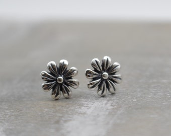 Sterling Silver Flower Studs - Silver Earrings - Small Stud Earrings - Gift for Her - Antique - Dainty