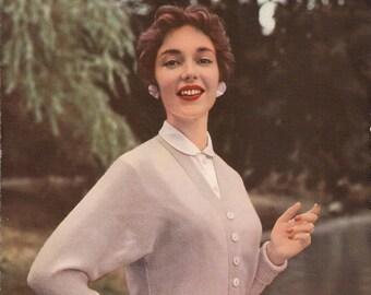 Original Vintage Knitting pattern - Lavenda Hand Knit  - 1950s Ladies Knitting Pattern. Ladies Cardigan.