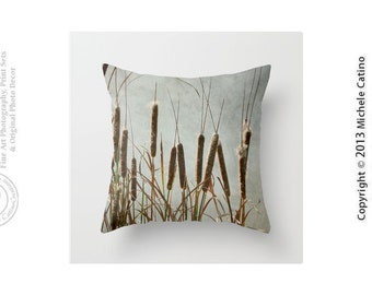Cattails Grasses Organic Nature Grass Moody Cloudy Sky Cat Tails Blues Browns Autumn Photo Art Throw Pillow Modern Image Pillow and Cover