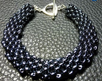 Charming Very Shiny Black Weaved Glass Plated Silver  Bracelet