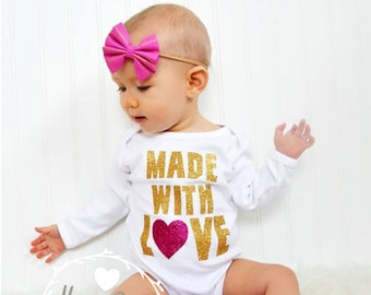 Baby Girl Clothes, Newborn Girl Clothing, New Baby Gift, Baby Shower Gift, Baby Girl Take Home Clothes, Baby Toddler Clothes, Made With Love