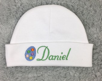 Personalized baby hat with Easter egg - micro preemie, preemie, newborn - baby shower gift, preemie gift, newborn pictures, NICU, Easter hat