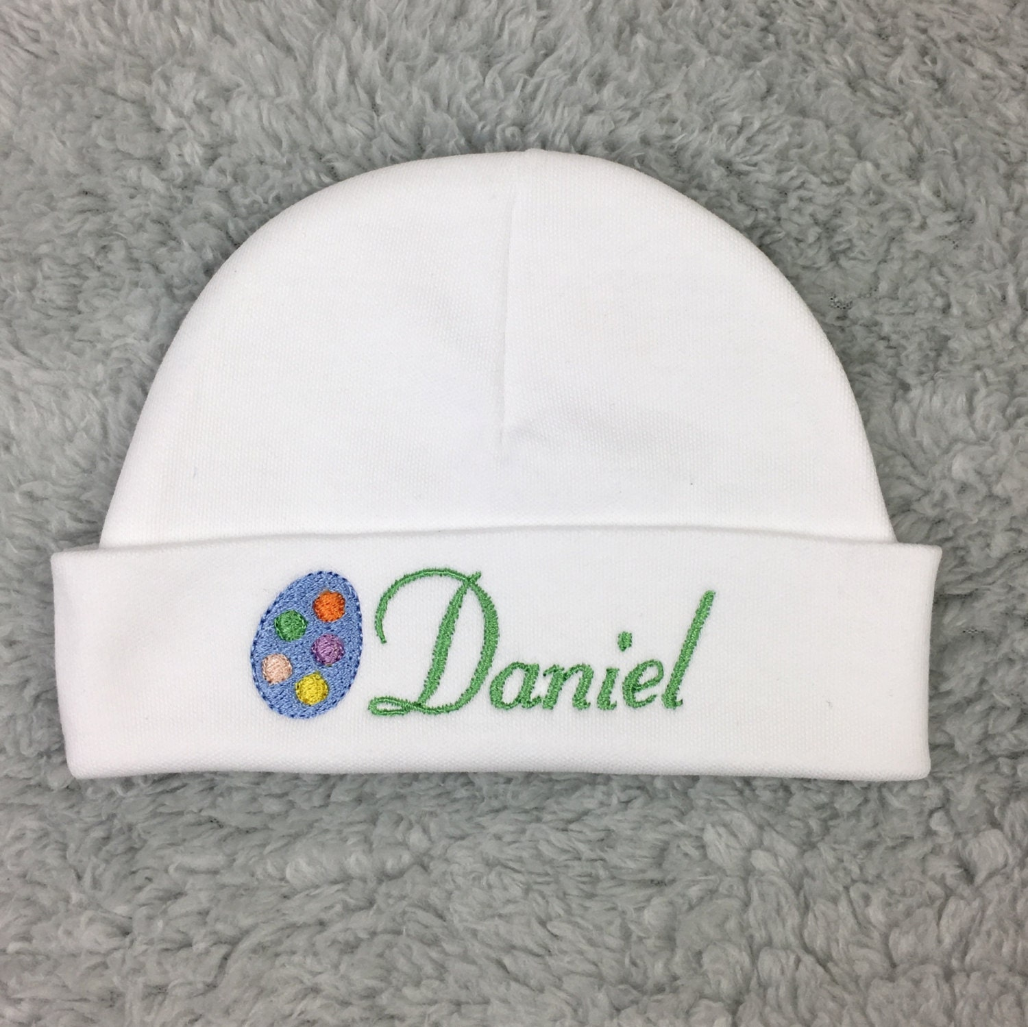 Personalized baby hat with Easter egg - micro preemie 17921f804ec3