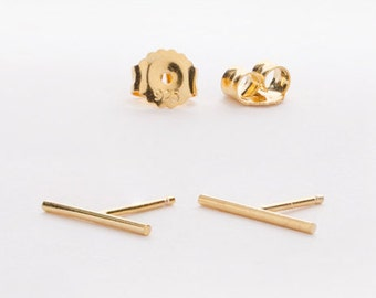 Long Round Bar Stud Earrings, Sterling Silver, Gold Plated, Bar Post Earrings, Slim Line Studs, Minimal Lunaijewelry,  Gift, for Her, STD035
